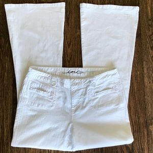 INC Stretch Flare Leg White Jeans Size 14